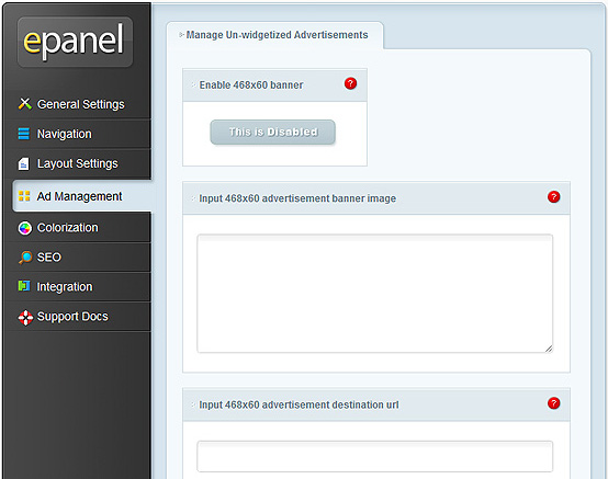 ElegantThemes Review - epanel Ad Management Settings