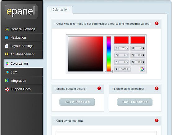 ElegantThemes Review - epanel Colorization Settings
