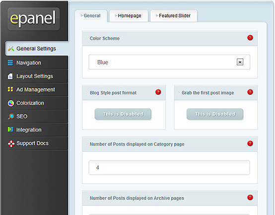 ElegantThemes Review - epanel General Settings