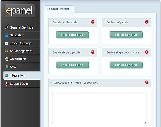 ElegantThemes Review - epanel Integration Settings