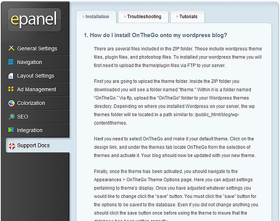 ElegantThemes Review - epanel Support Docs