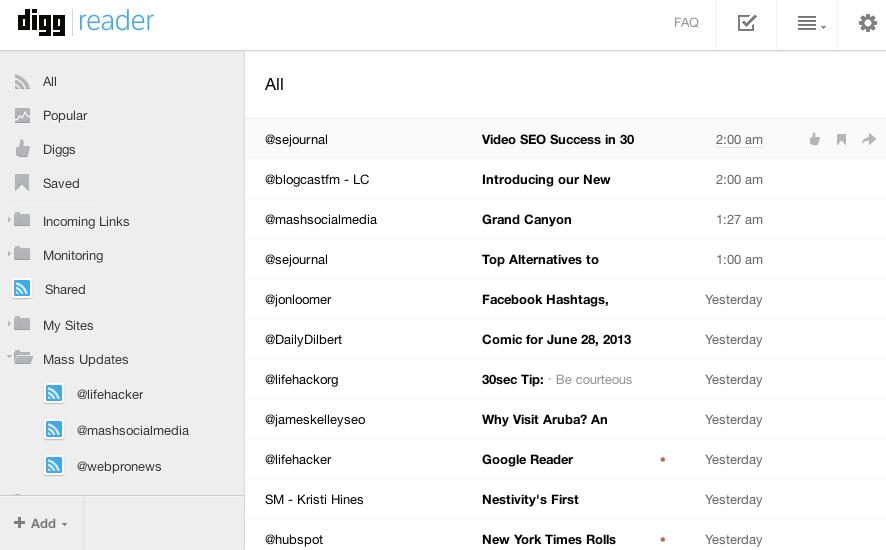Google Reader Alternative Web-Based RSS Readers - Digg Reader