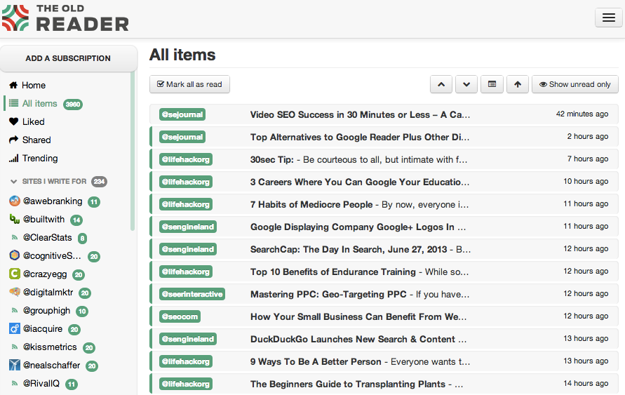 Google Reader Alternative Web-Based RSS Readers - The Old Reader