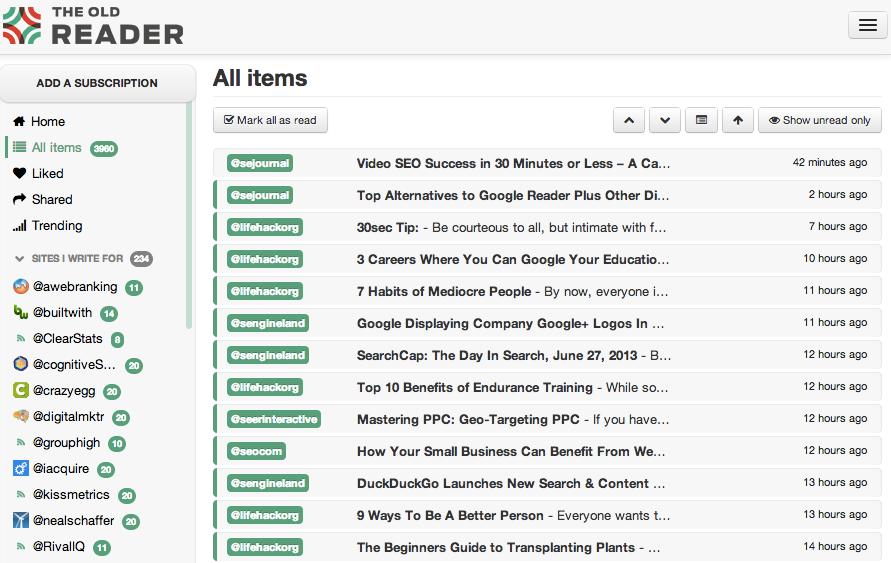 Google Reader Alternative Web-Based RSS Readers - The Old Reader