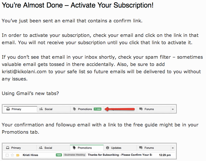 mailing-list-confirmation-page