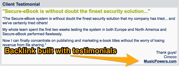 build backlinks with testimonials