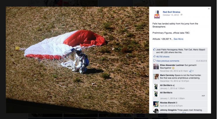 red bull stratos jump felix social media