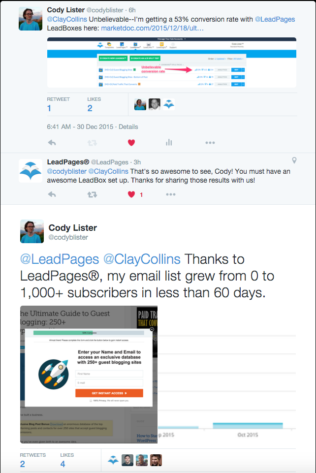 LeadPages Twitter Screenshot