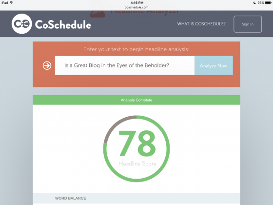 image CoSchedule Headline Analyzer score for the post 78 by Sue-Ann