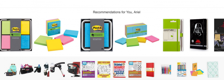 Example of website personalization on Amazon