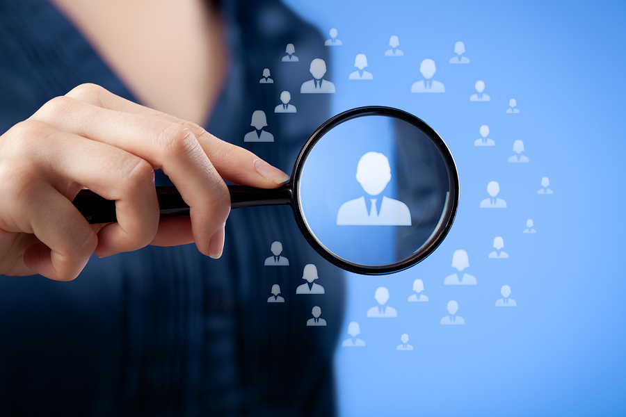 Human resources CRM data mining assessment center and social media concept - woman looking for employee represented by icon.
