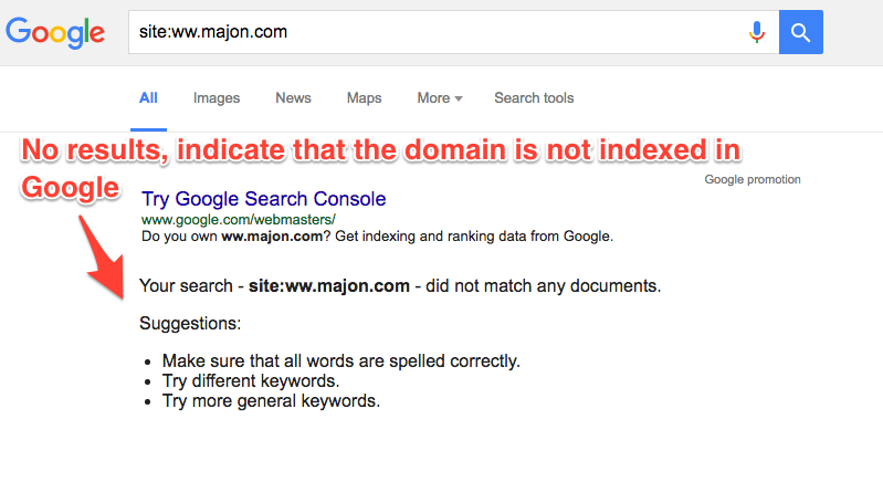 domain not indexed example