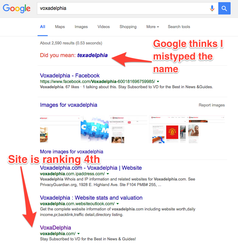 example of site not ranking for brand name