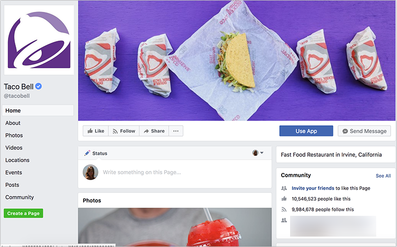 Facebook Page: Taco Bell