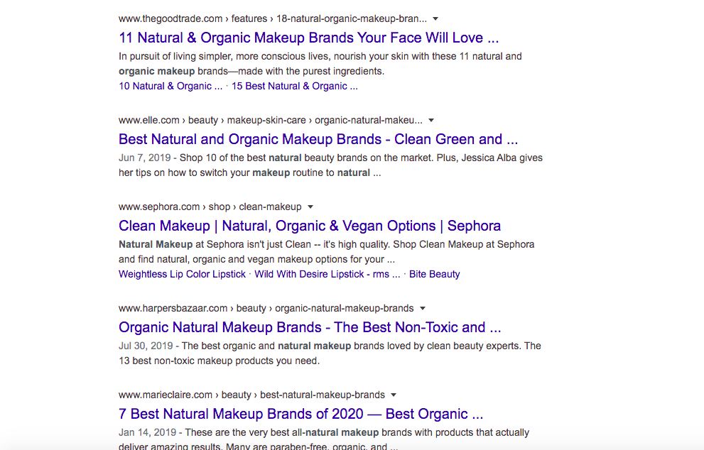 organic makeup search results