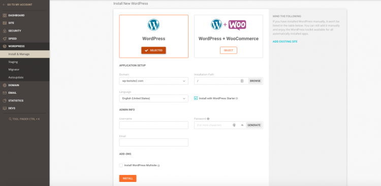 Siteground installazione di wordpress con 1 clic