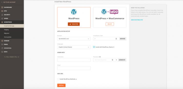 Siteground 1-click wordpress installation