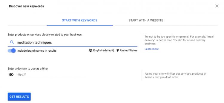 Pianificatore di parole chiave di Google