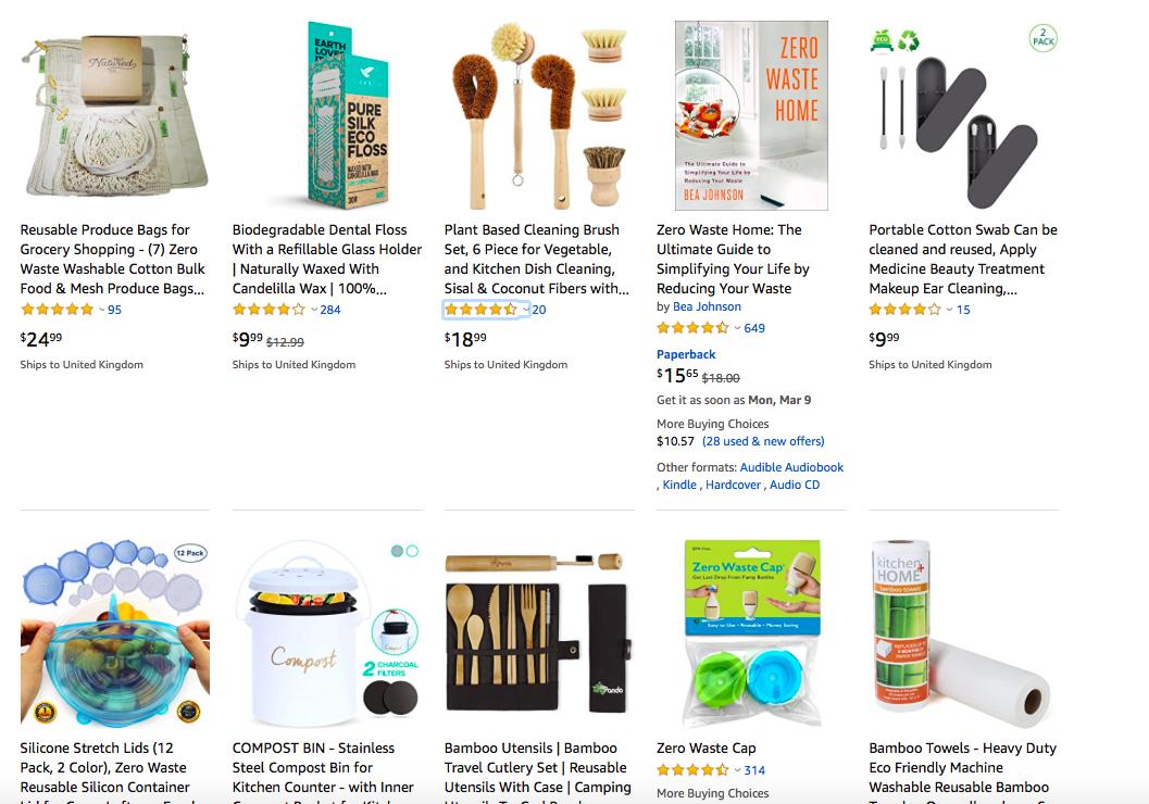 zero rifiuti prodotti su Amazon