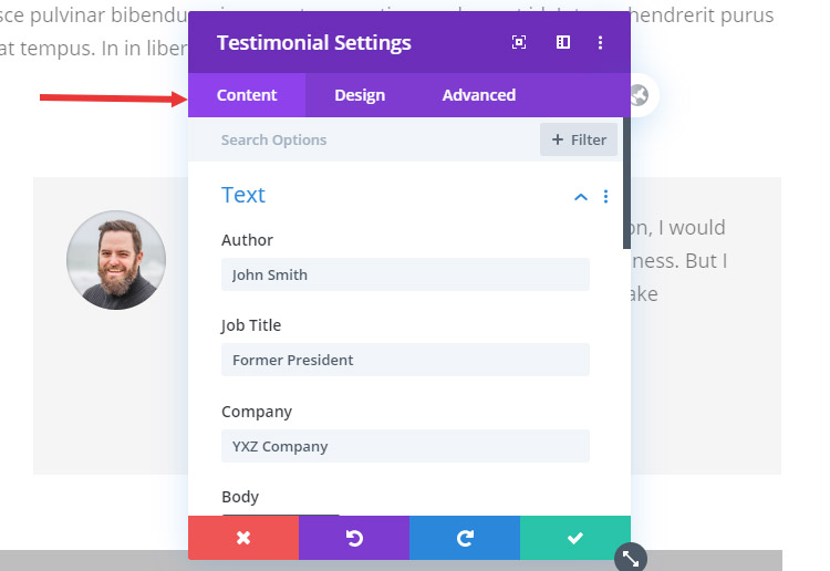 Divi interface