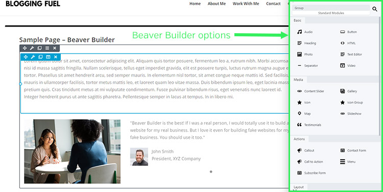 Beaver Builder Interface