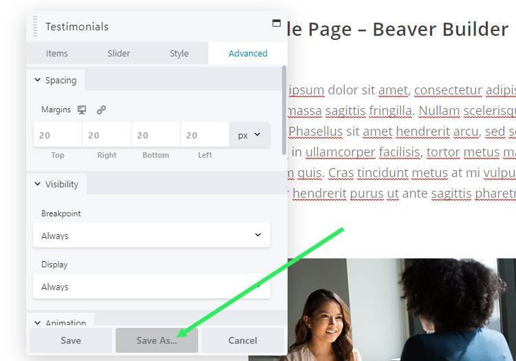 Beaver Builder - save a module