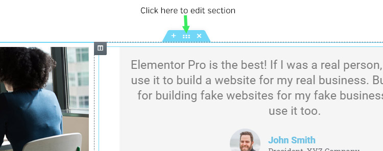 Edit a section in Elementor