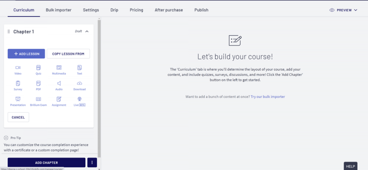 Teachable vs Thinkific: Thinkific course builder