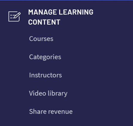 "Thinkific ""Manage Learning Content"" menu"
