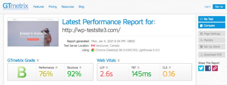 GTmetrix test for WPX hosting site
