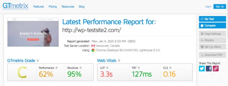 GTmetric test for SiteGround site