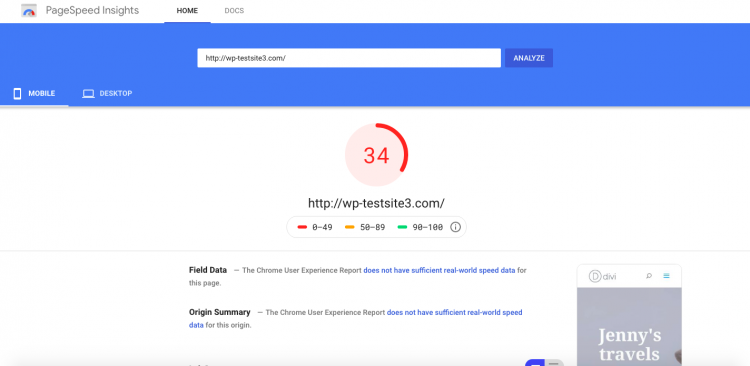 Google PageSpeed test for site hosted on WPX Hosting