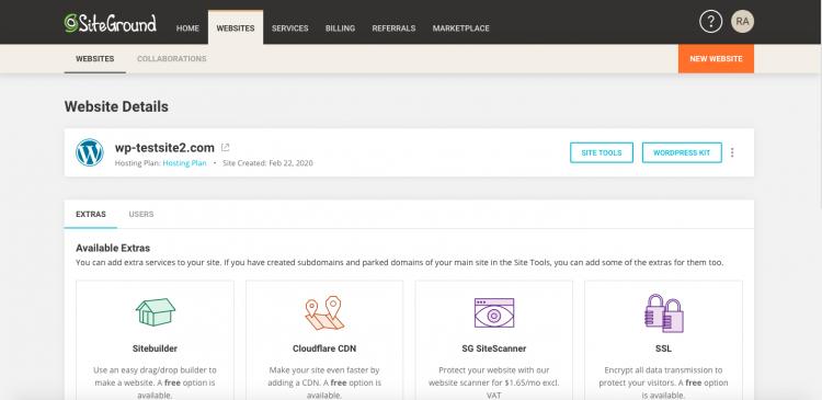 SiteGround websites tab